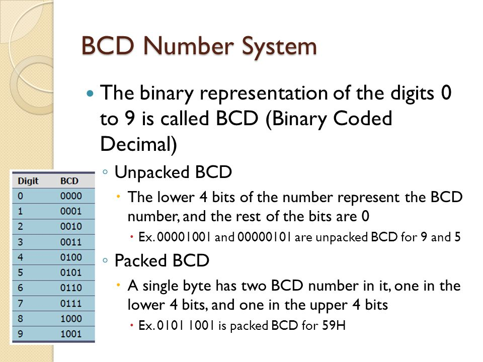 BCD Number System The binary representation of the digits 0 to 9 is called BCD (Binary Coded Decimal)