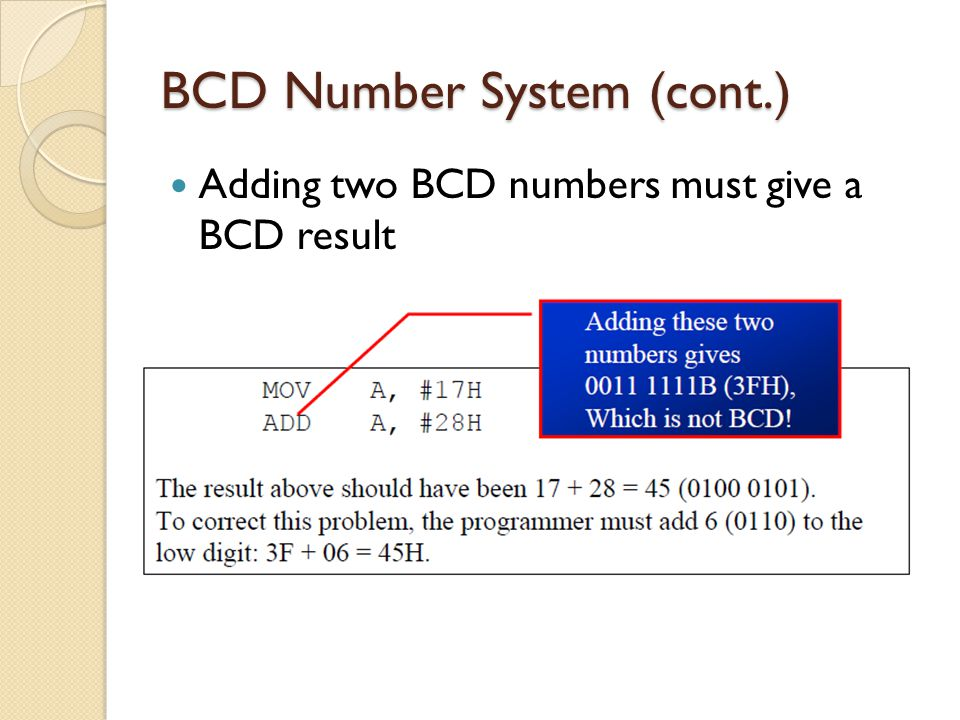 BCD Number System (cont.)