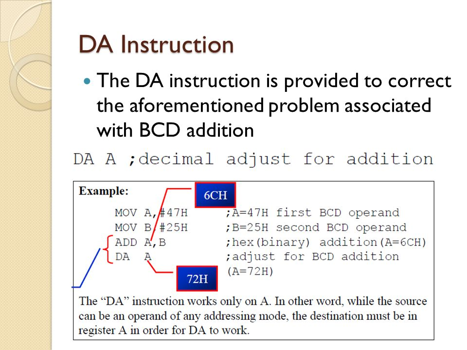 DA Instruction The DA instruction is provided to correct the aforementioned problem associated with BCD addition.