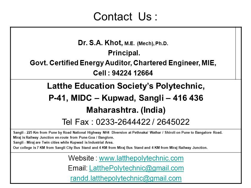 Contact Us : Latthe Education Society's Polytechnic,