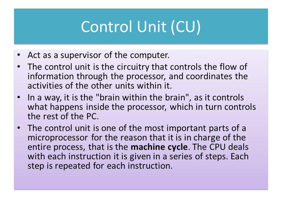 Control Unit (CU) Act as a supervisor of the computer.