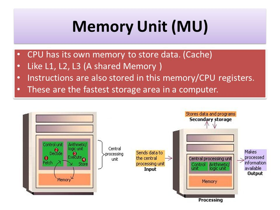 Memory Unit (MU) CPU has its own memory to store data. (Cache)