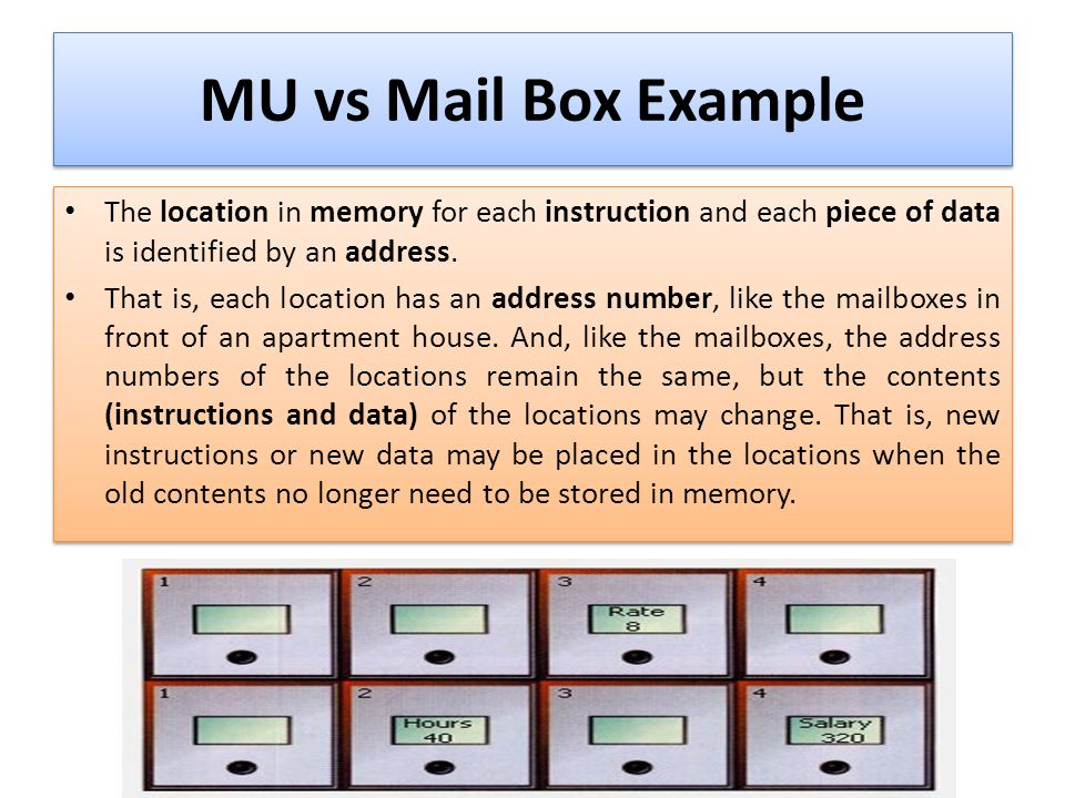 MU vs Mail Box Example The location in memory for each instruction and each piece of data is identified by an address.