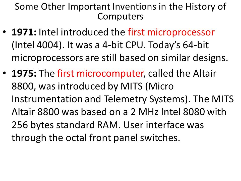 Some Other Important Inventions in the History of Computers