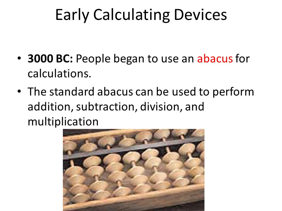 Early Calculating Devices