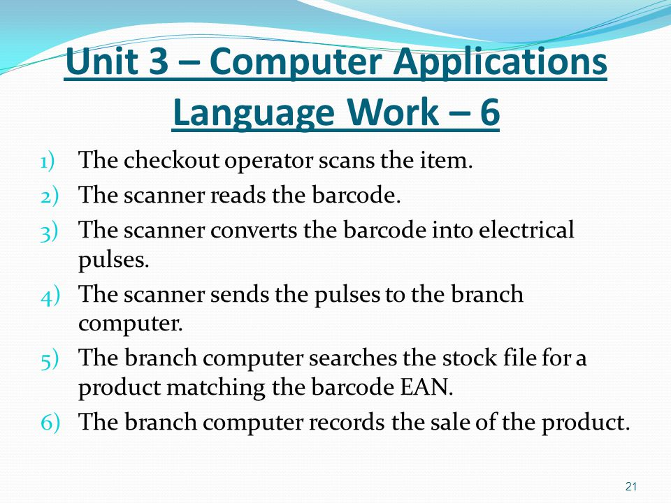 Unit 3 – Computer Applications Language Work – 6