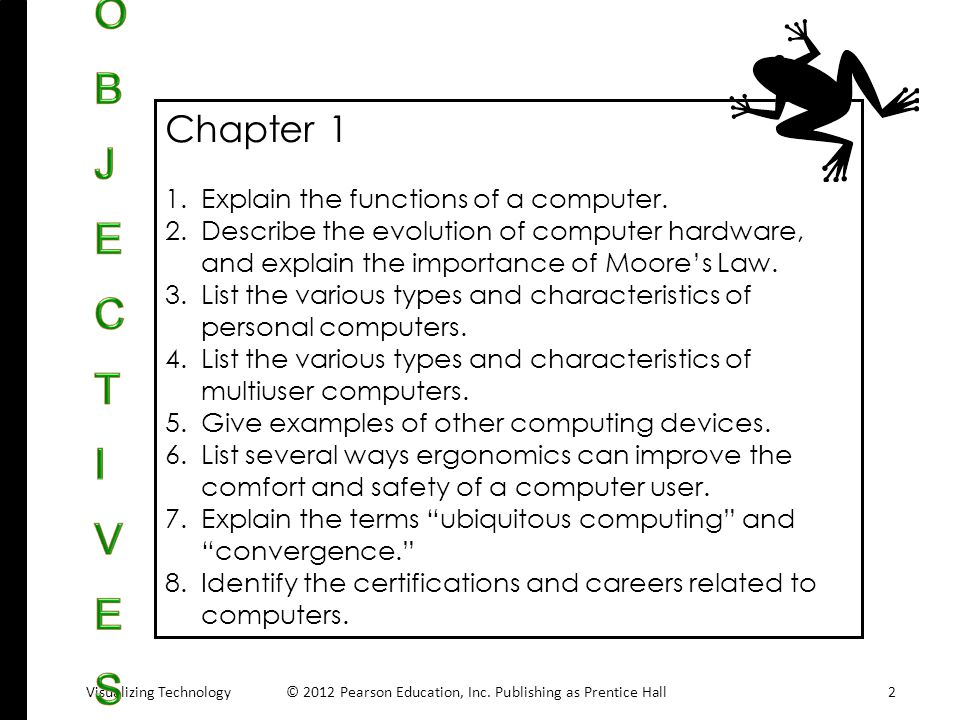 OBJECTIVES Chapter 1 Explain the functions of a computer.