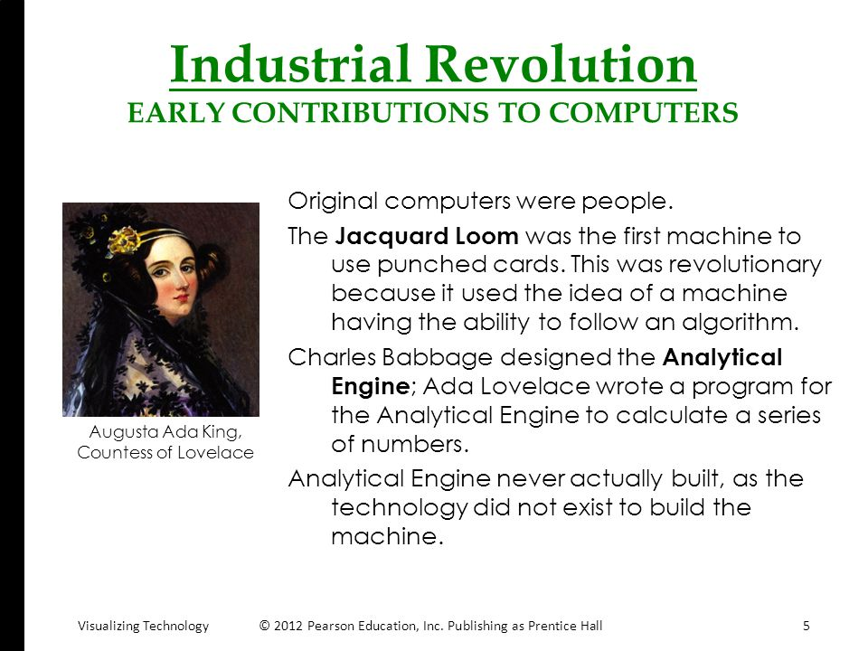 Industrial Revolution EARLY CONTRIBUTIONS TO COMPUTERS