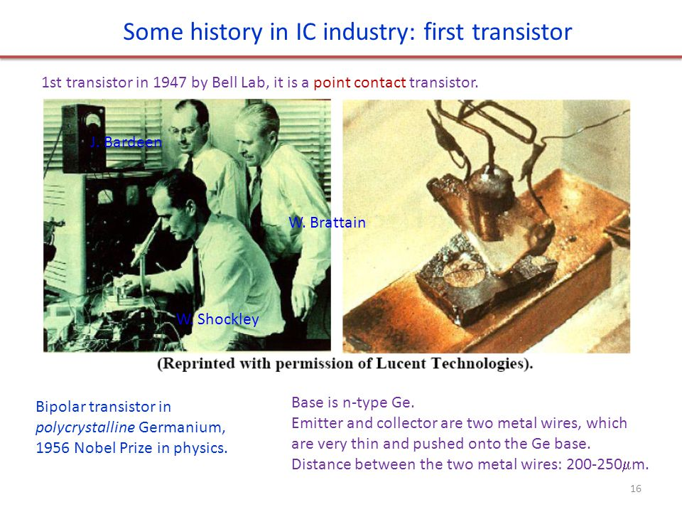 Some history in IC industry: first transistor