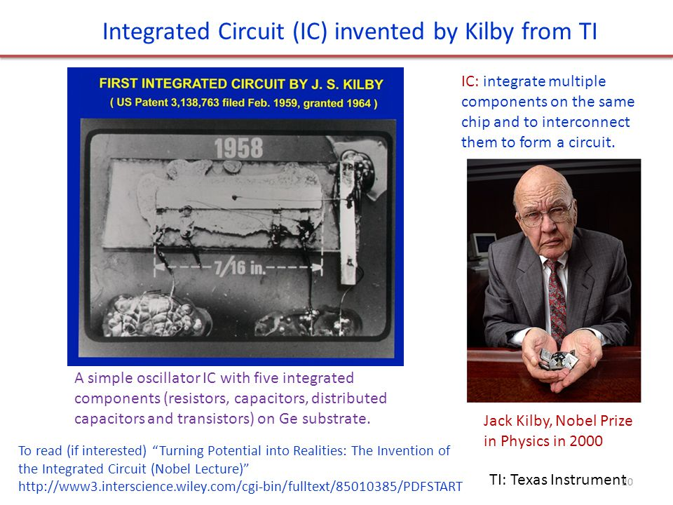 Integrated Circuit (IC) invented by Kilby from TI