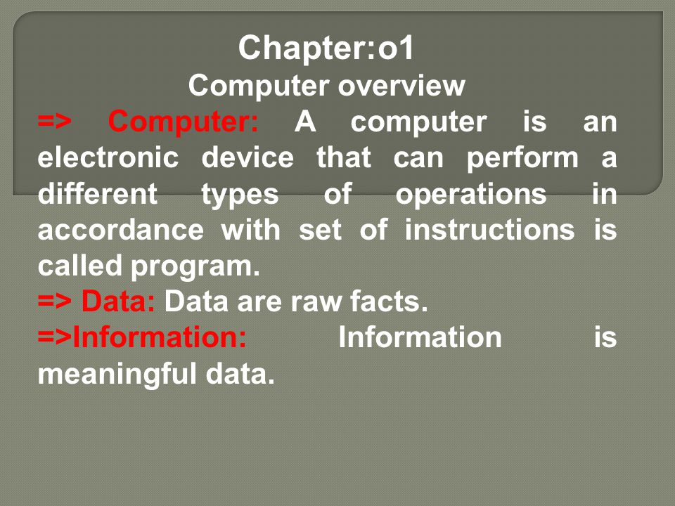 Chapter:o1 Computer overview