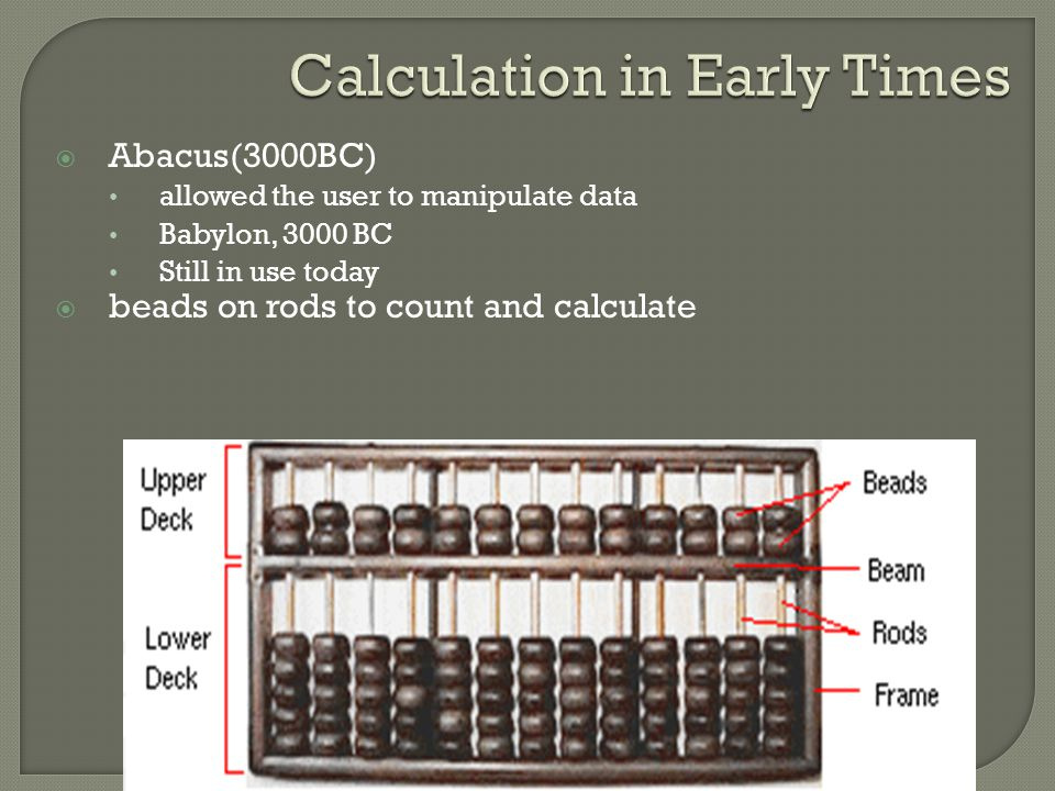 Calculation in Early Times