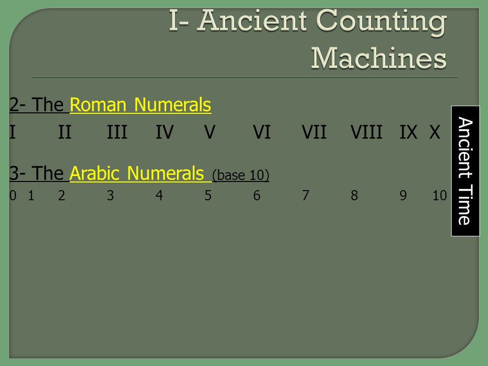 I- Ancient Counting Machines