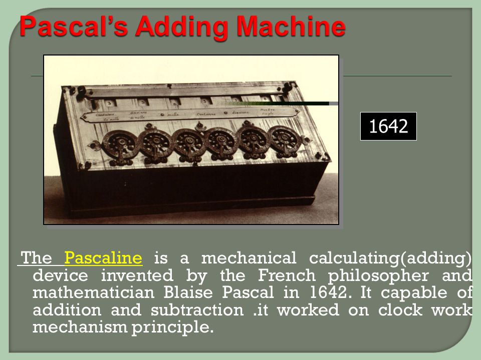 Pascal's Adding Machine