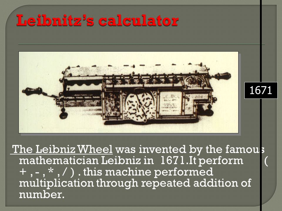 Leibnitz's calculator