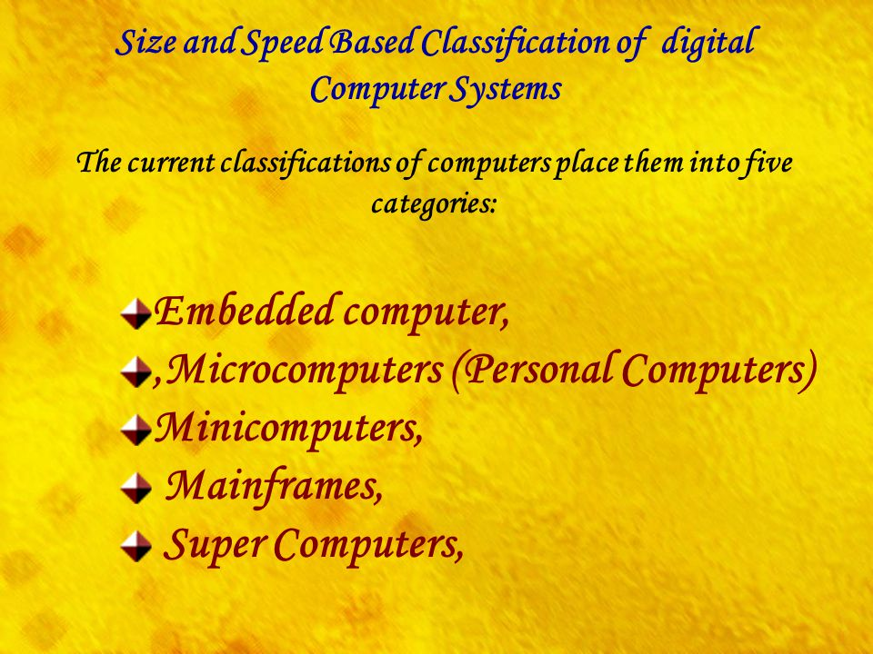 Size and Speed Based Classification of digital
