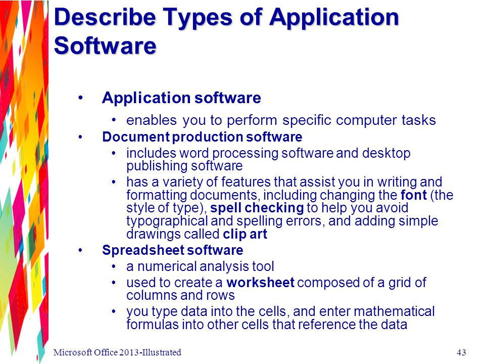 Describe Types of Application Software