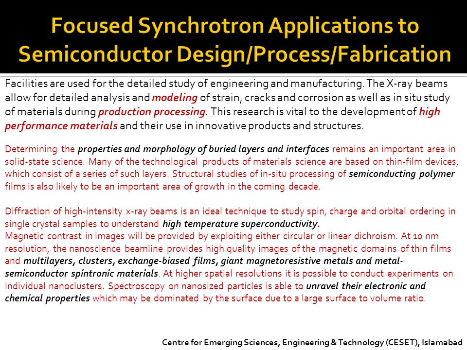 Focused Synchrotron Applications to Semiconductor Design/Process/Fabrication