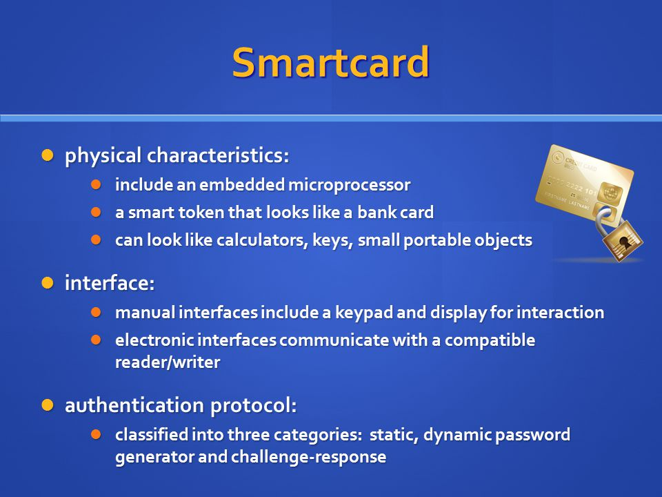 Smartcard physical characteristics: interface: