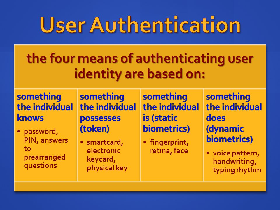 the four means of authenticating user identity are based on: