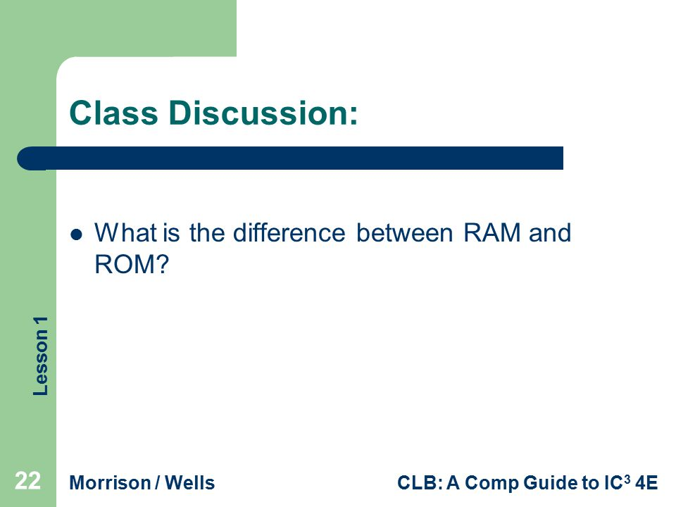 Class Discussion: What is the difference between RAM and ROM
