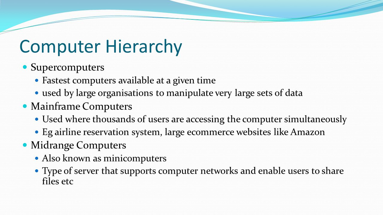 Computer Hierarchy Supercomputers Mainframe Computers