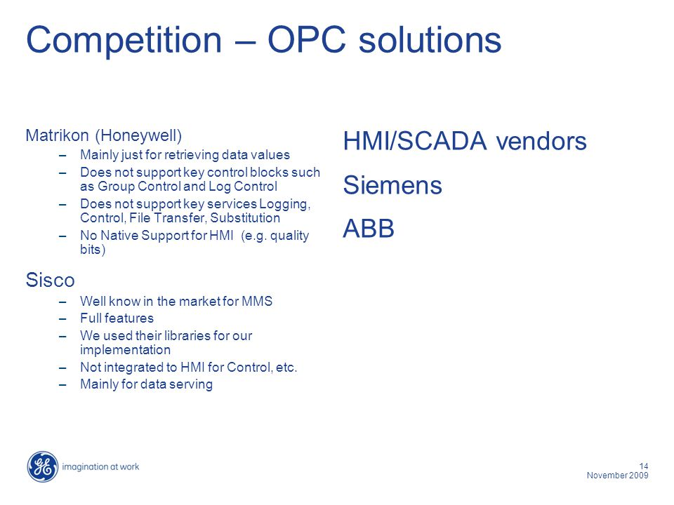 Competition – OPC solutions