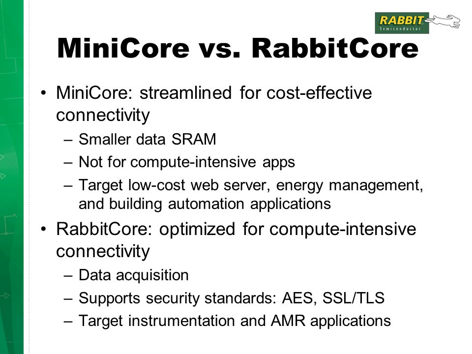 MiniCore vs. RabbitCore