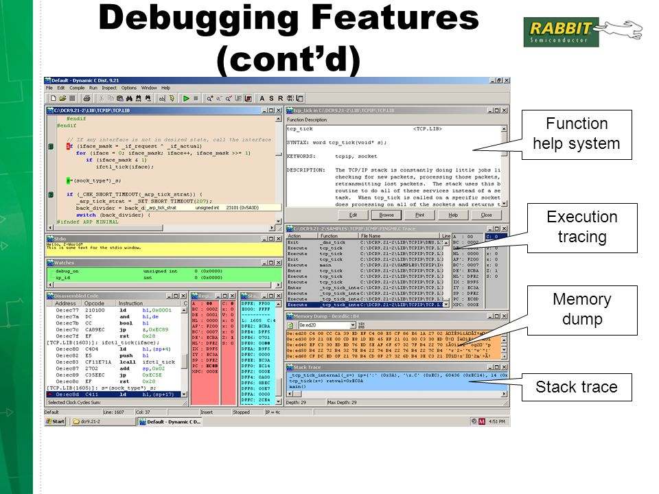 Debugging Features (cont'd)