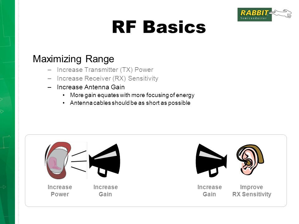 RF Basics Maximizing Range Increase Transmitter (TX) Power