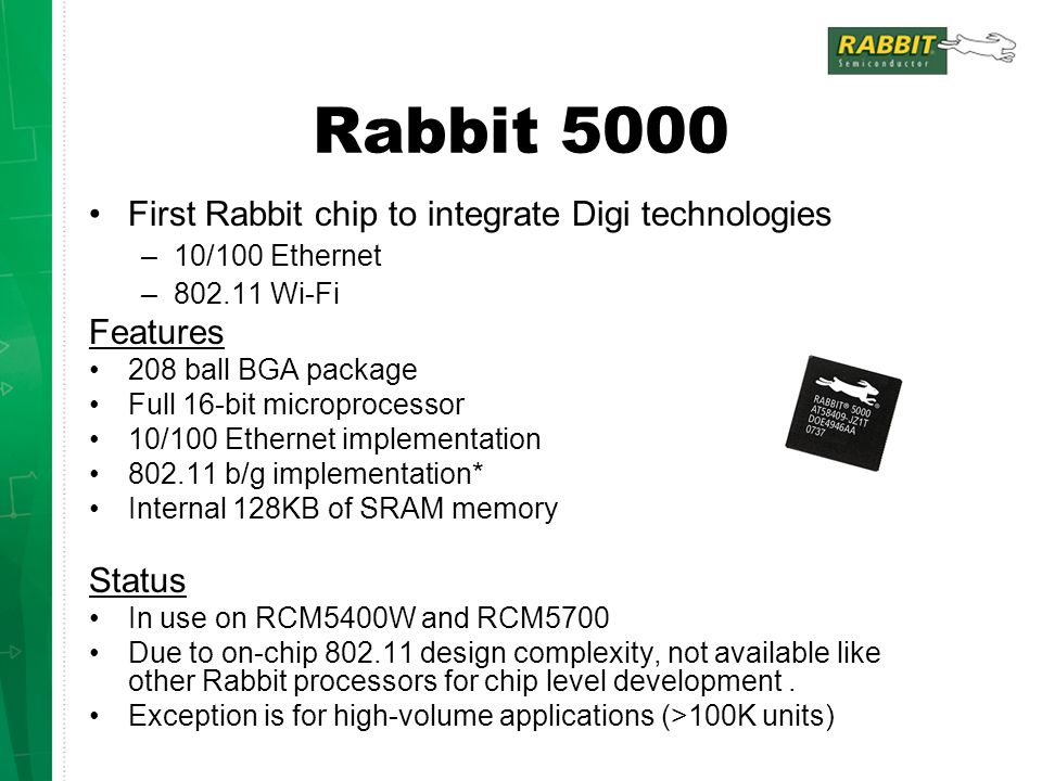 Rabbit 5000 First Rabbit chip to integrate Digi technologies Features