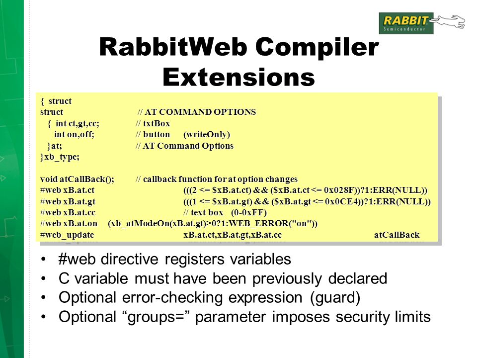RabbitWeb Compiler Extensions