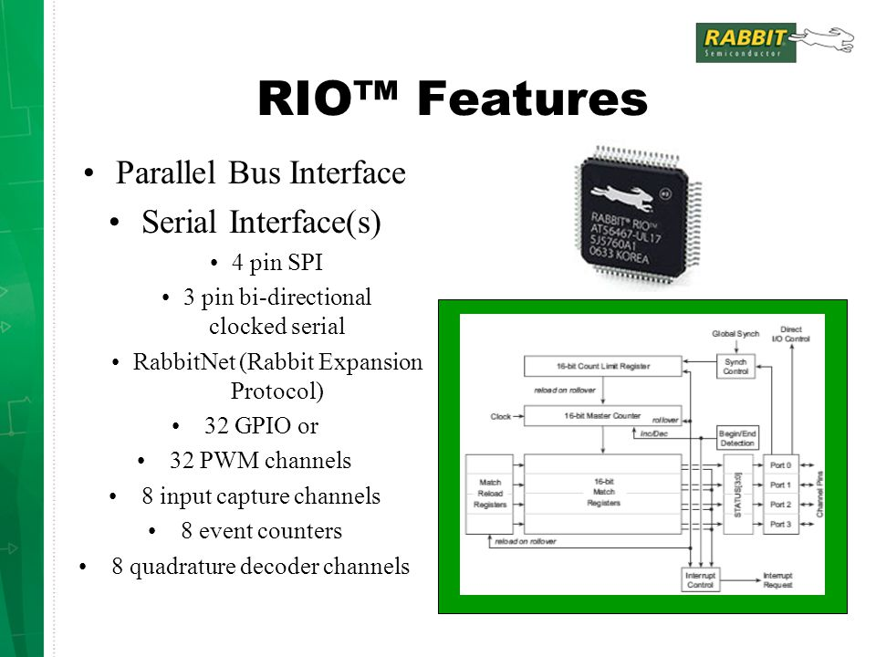 RIO™ Features Parallel Bus Interface Serial Interface(s) 4 pin SPI