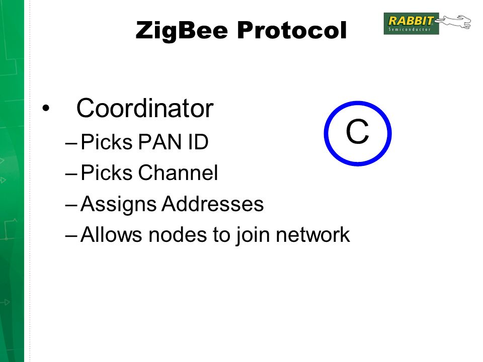 Coordinator ZigBee Protocol Picks PAN ID Picks Channel