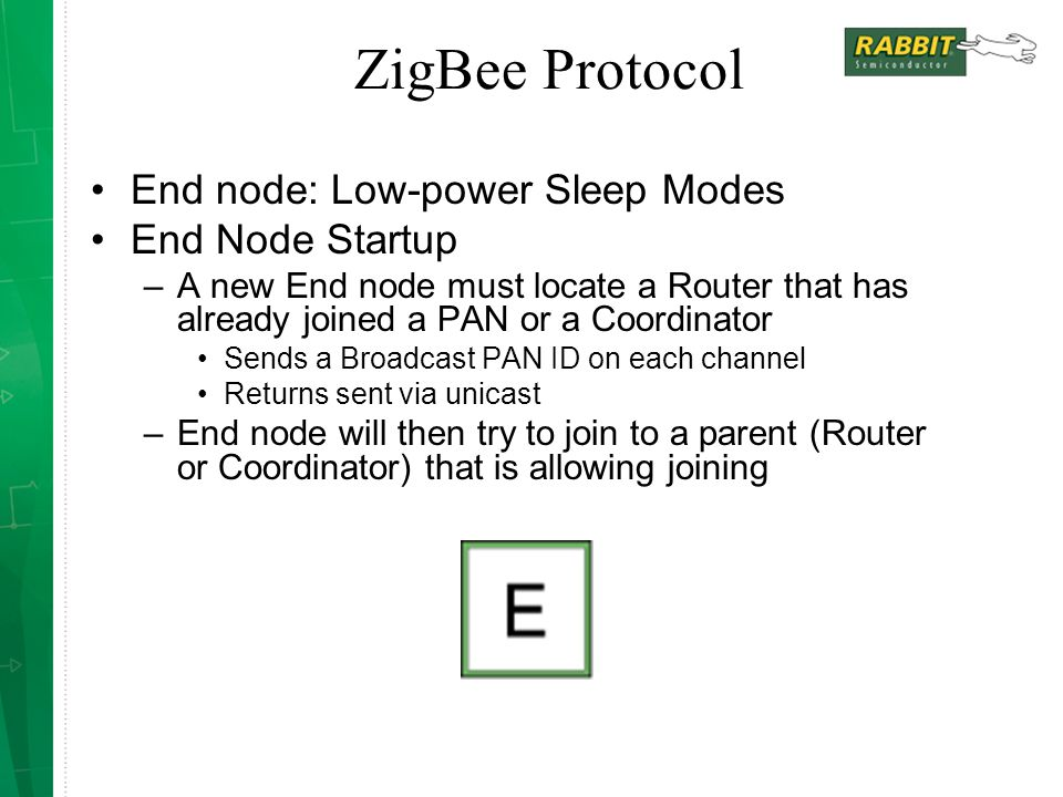 ZigBee Protocol End node: Low-power Sleep Modes End Node Startup