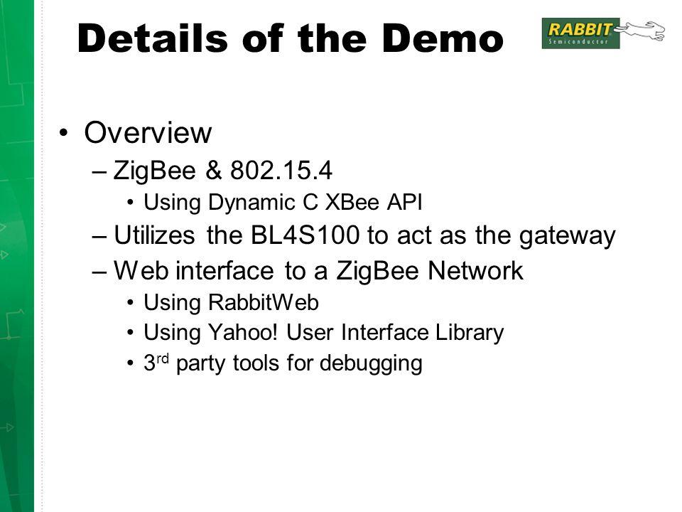 Details of the Demo Overview ZigBee & 802.15.4