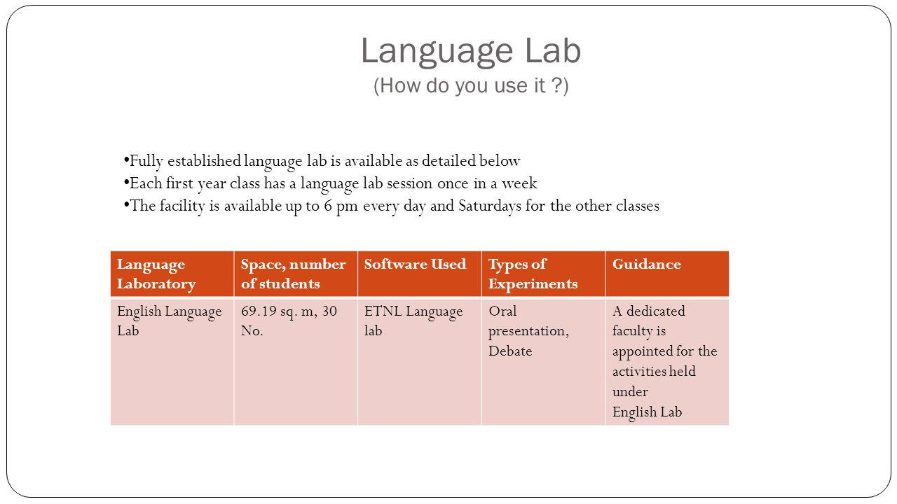 Language Lab (How do you use it )