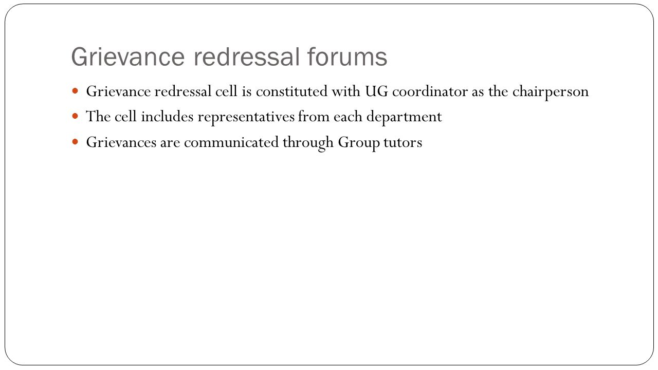 Grievance redressal forums