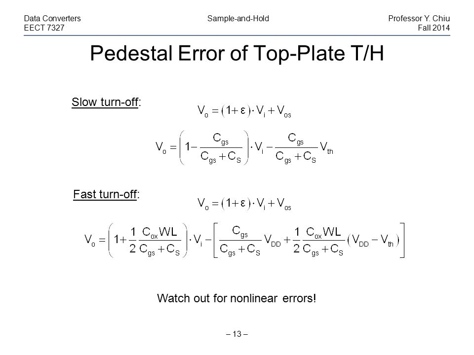 Pedestal Error of Top-Plate T/H