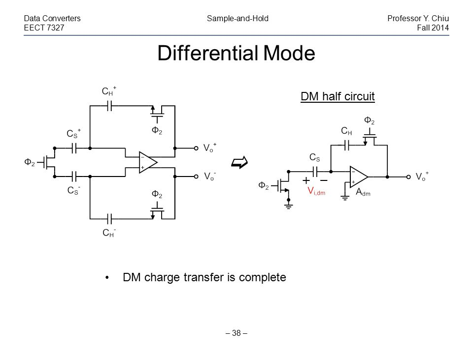 Differential Mode  DM half circuit DM charge transfer is complete