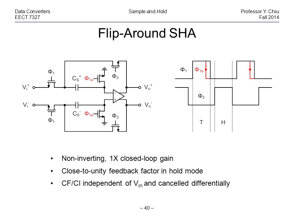 Flip-Around SHA Non-inverting, 1X closed-loop gain