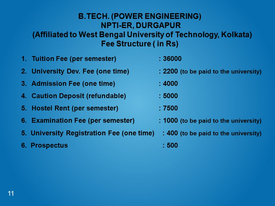 B.TECH. (POWER ENGINEERING) NPTI-ER, DURGAPUR (Affiliated to West Bengal University of Technology, Kolkata) Fee Structure ( in Rs)