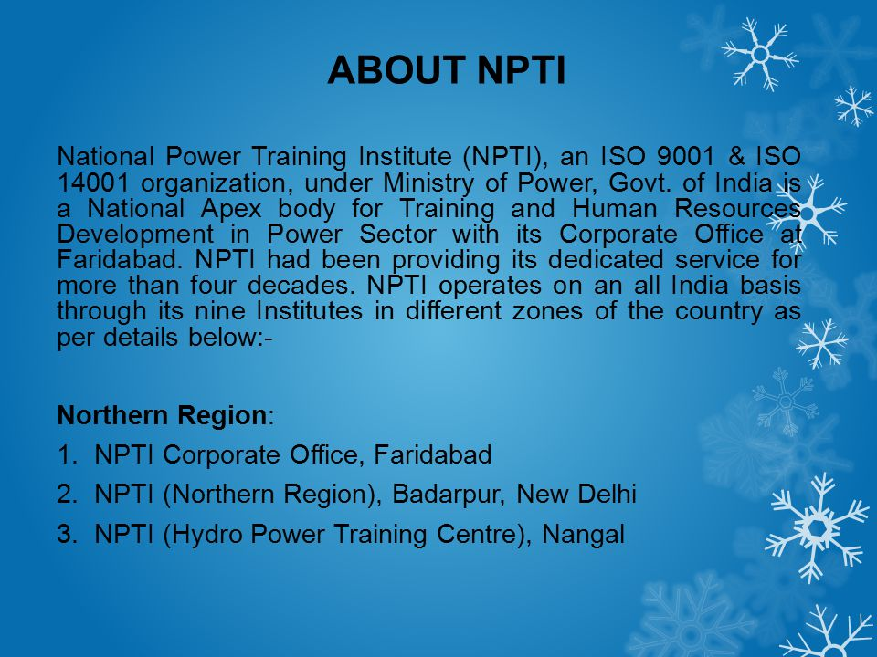 ABOUT NPTI