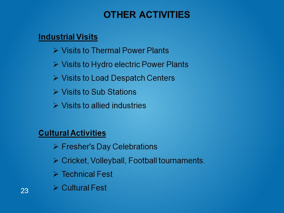 OTHER ACTIVITIES Industrial Visits Visits to Thermal Power Plants