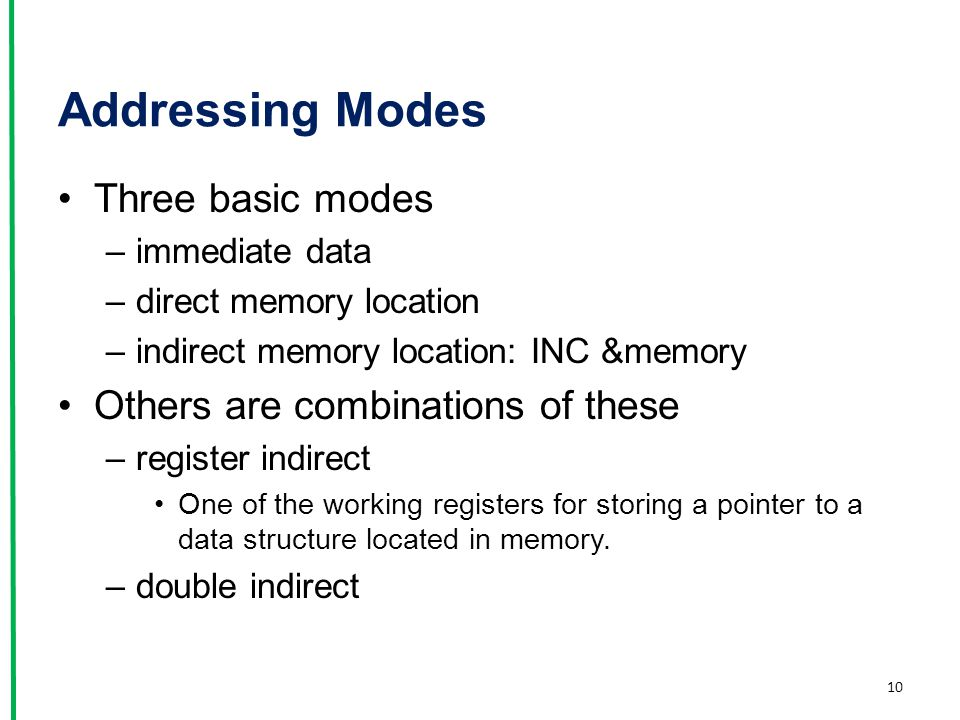 Addressing Modes Three basic modes Others are combinations of these