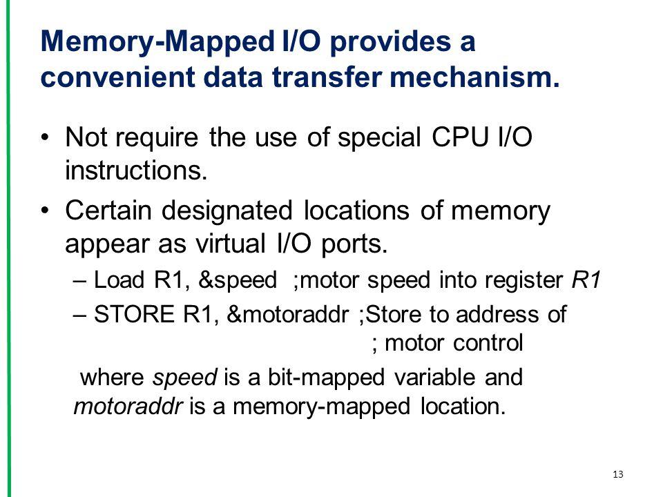 Memory-Mapped I/O provides a convenient data transfer mechanism.