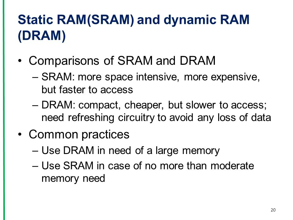 Static RAM(SRAM) and dynamic RAM (DRAM)