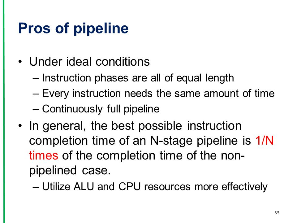 Pros of pipeline Under ideal conditions