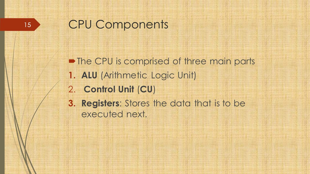 CPU Components The CPU is comprised of three main parts