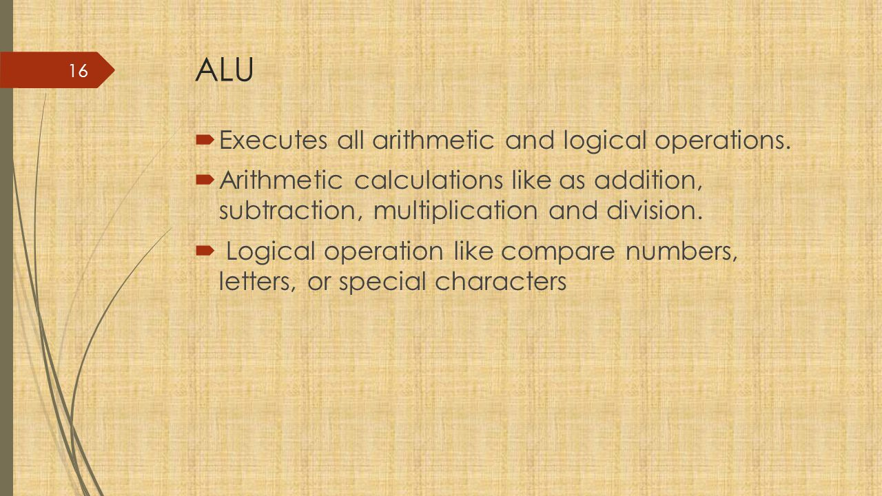 ALU Executes all arithmetic and logical operations.